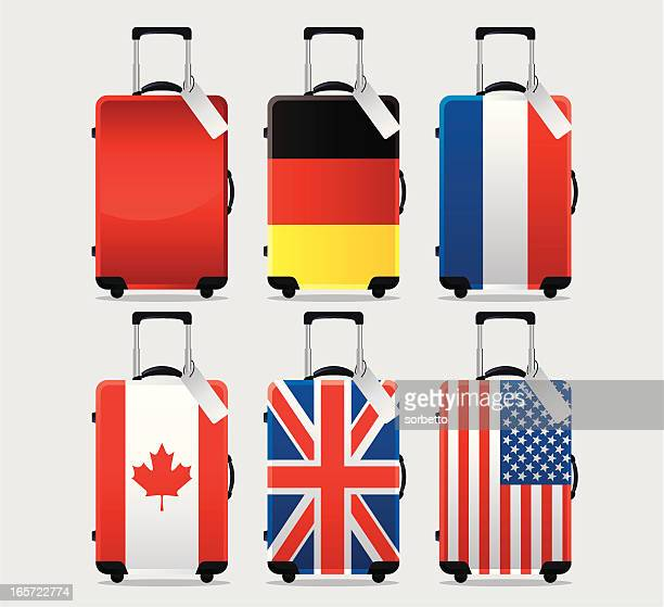 suitcase national flag - luggage tag stock illustrations, clip art, cartoons, & icons