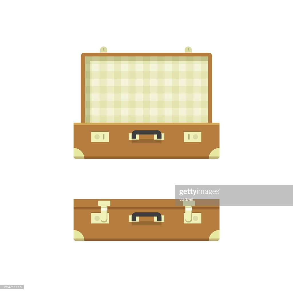 Suitcase open and closed vector illustration isolated on white background