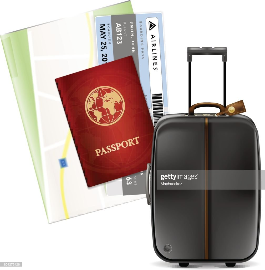Suitcase, passport, airplane tickets and map