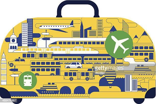 ilustraciones, imágenes clip art, dibujos animados e iconos de stock de maleta - torre petrolera