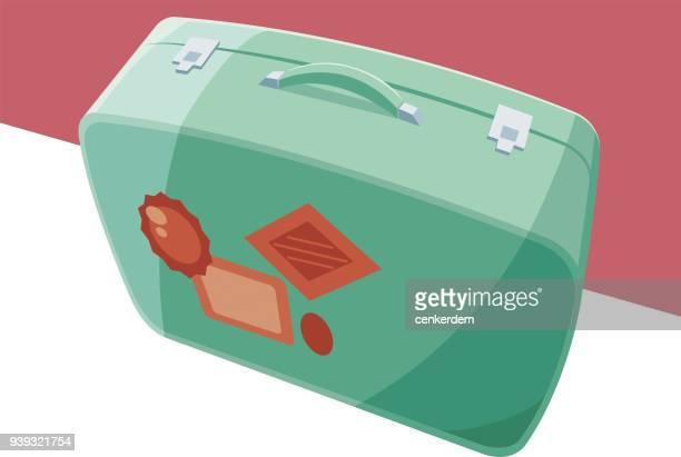 koffer-vektor - abschied stock-grafiken, -clipart, -cartoons und -symbole