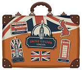 suitcase with British symbols, monuments and flag