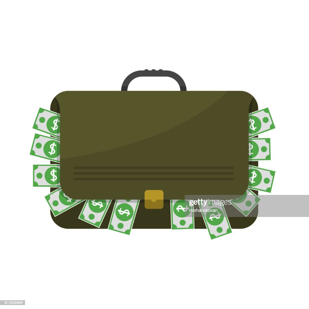 Suitcase with dollar banknotes