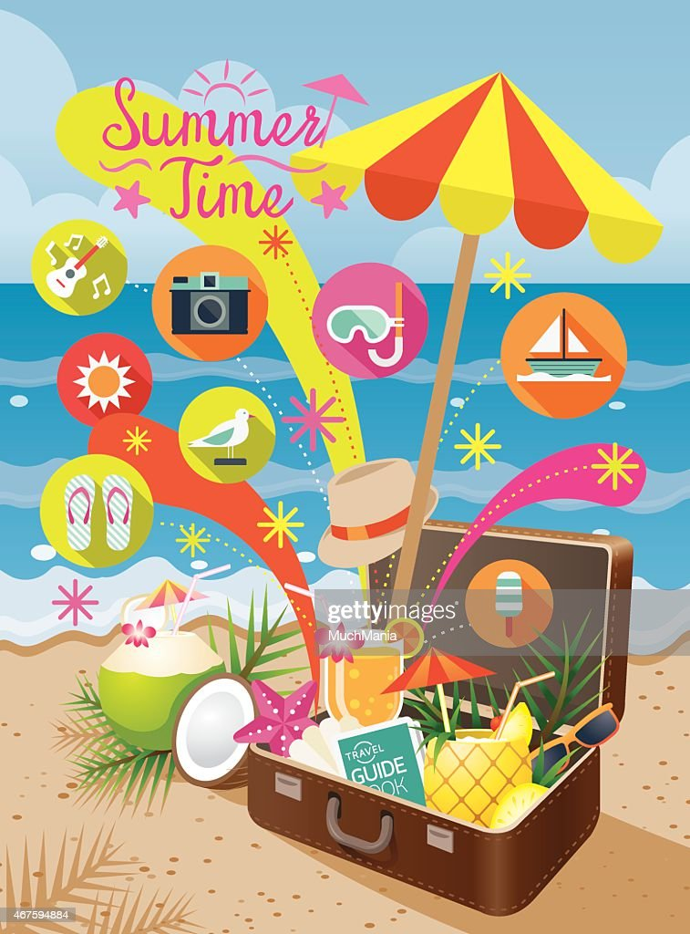 Suitcase with Summer Objects and Icons on the Beach