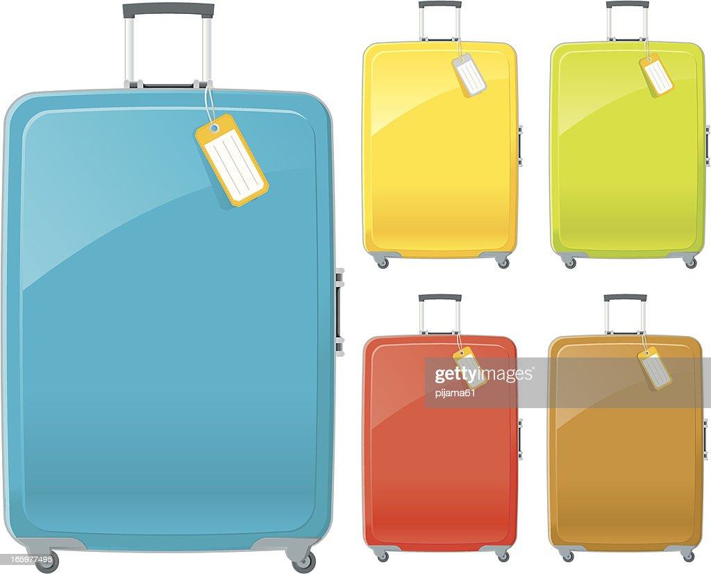 Suitcases in blue, yellow, green, red and brown with tags : stock illustration