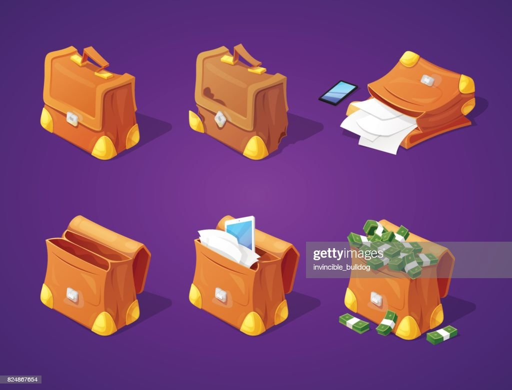 Suitcases with Money, Papers and Devices for Game Interface. Banknotes and Documents Icons