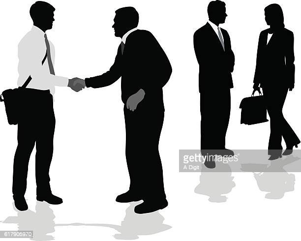 suits and handshakes - job interview stock illustrations, clip art, cartoons, & icons