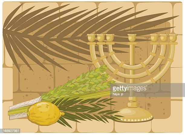 仮庵の植物とゴールドのメノラーに古い石の壁の背景 - 仮庵の祭り点のイラスト素材/クリップアート素材/マンガ素材/アイコン素材