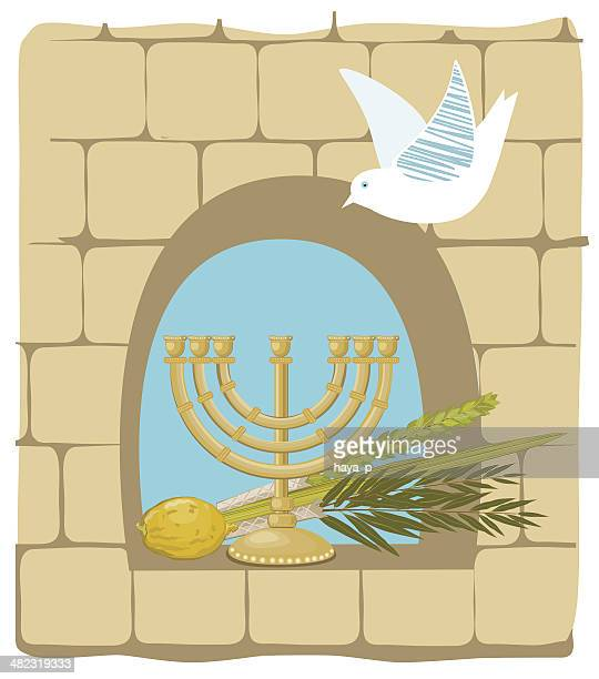 sukkoth plants and golden menorah on old stone wall background - passover stock illustrations