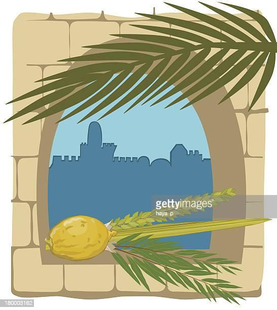 仮庵の植物、エルサレムのシルエット - 仮庵の祭り点のイラスト素材/クリップアート素材/マンガ素材/アイコン素材