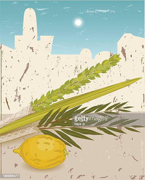 仮庵のシンボルのシルエットをエルサレム旧市街 - 仮庵の祭り点のイラスト素材/クリップアート素材/マンガ素材/アイコン素材