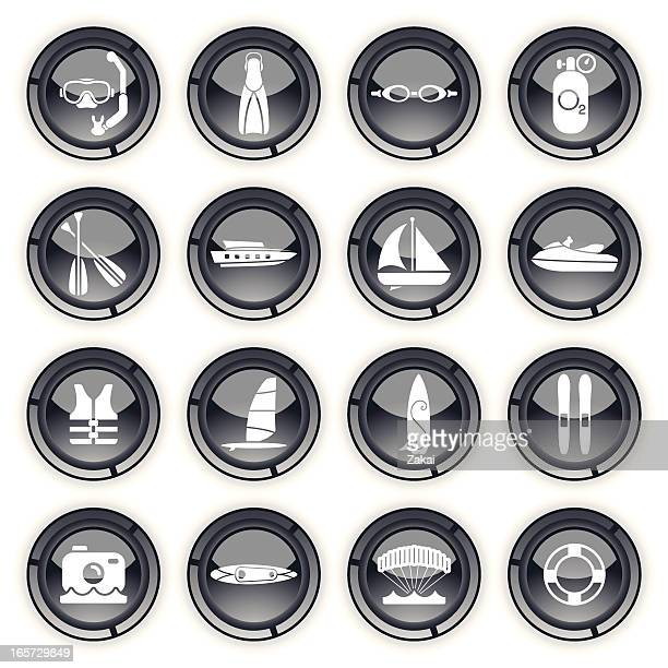 sumer sports equipment | grey buttons - motorboating stock illustrations, clip art, cartoons, & icons