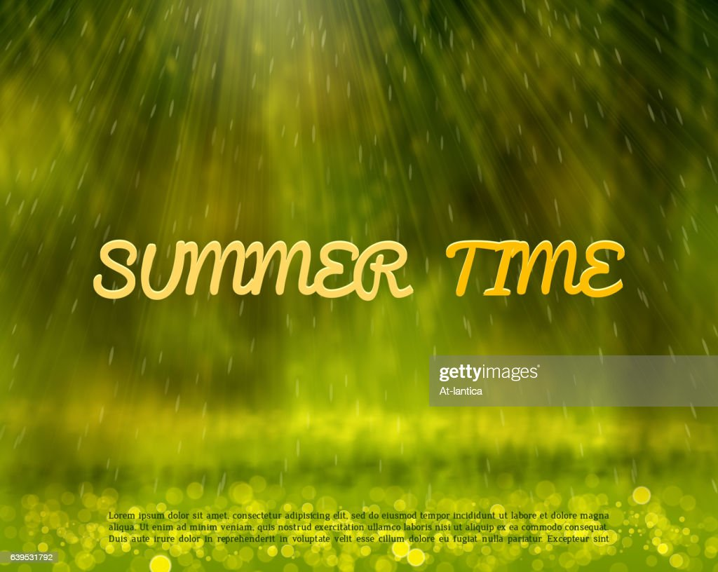 summer abstract background with rays and bokeh