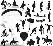 Summer activities and extreme sports set