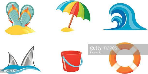 illustrations, cliparts, dessins animés et icônes de les activités estivales-icônes - seau