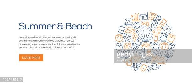 summer and beach banner template with line icons. modern vector illustration for advertisement, header, website. - relaxation stock illustrations, clip art, cartoons, & icons