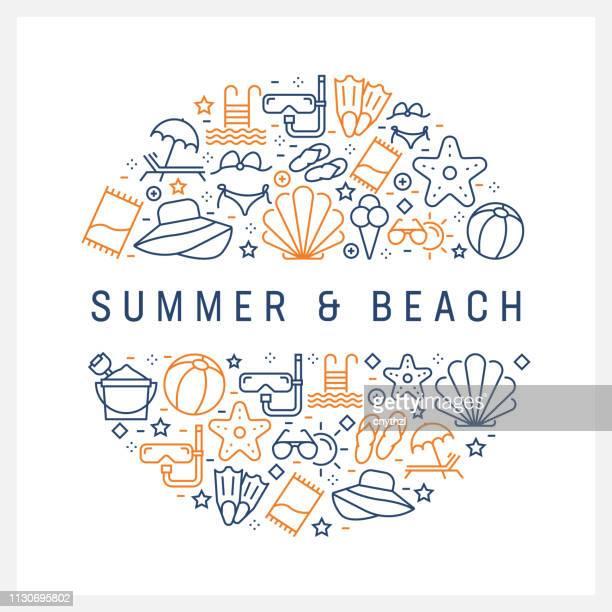 ilustraciones, imágenes clip art, dibujos animados e iconos de stock de verano y playa concepto - línea coloridos iconos, dispuestas en círculo - concha de mar