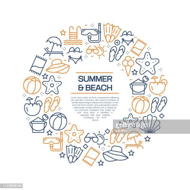 ilustraciones, imágenes clip art, dibujos animados e iconos de stock de concepto de verano y playa-iconos de línea colorida, organizados en círculo - concha de mar