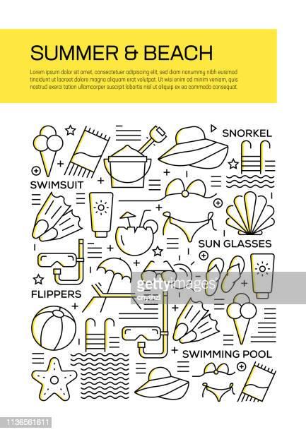 summer and beach concept line style cover design für geschäftsbericht, flyer, broschüre. - zwischenbericht stock-grafiken, -clipart, -cartoons und -symbole