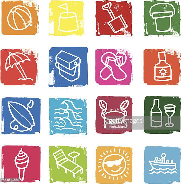 summer and beach icon set - ice bucket stock illustrations, clip art, cartoons, & icons