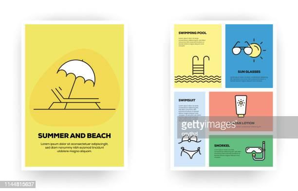 illustrations, cliparts, dessins animés et icônes de infographie sur les lignes reliées à l'été et à la plage - vacances