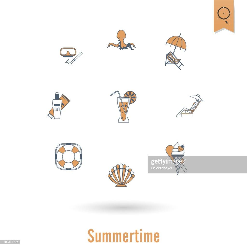 Verano playa de iconos de plano sencillo y : Arte vectorial