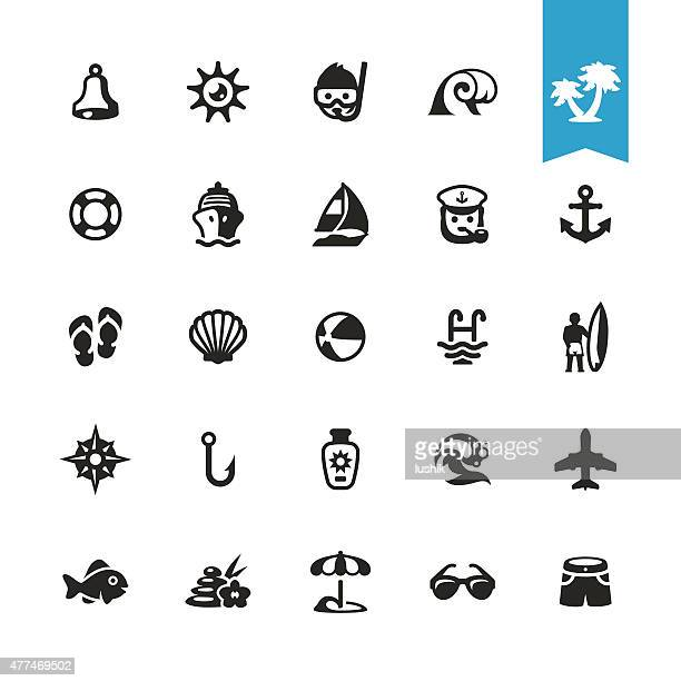 ilustraciones, imágenes clip art, dibujos animados e iconos de stock de vacaciones de verano vector iconos relacionados con la playa - concha de mar
