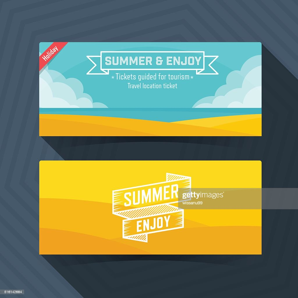 Summer and Enjoy template, Ticket card design element.