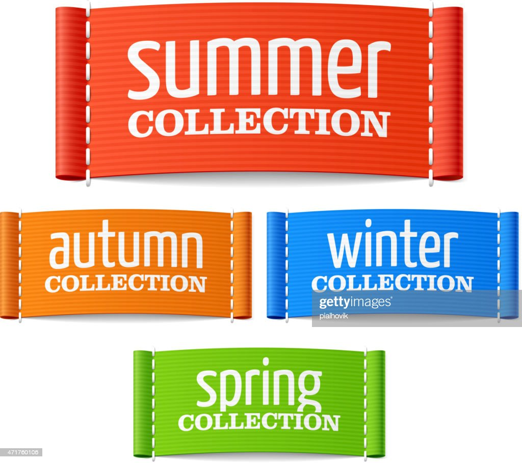 Summer, autumn, winter and spring collection labels