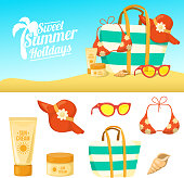 Summer background and icons.