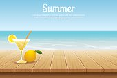 summer background blue sky with sea and wooden for product
