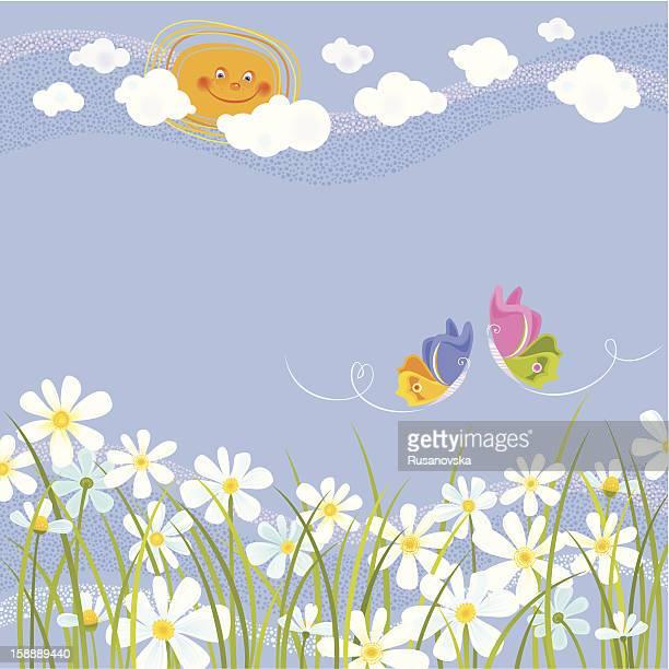 ilustraciones, imágenes clip art, dibujos animados e iconos de stock de fondo de verano - planta de manzanilla