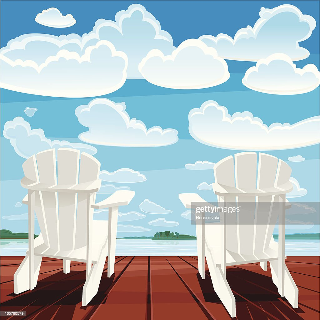 Summer Background (Muskoka Chairs) : stock illustration