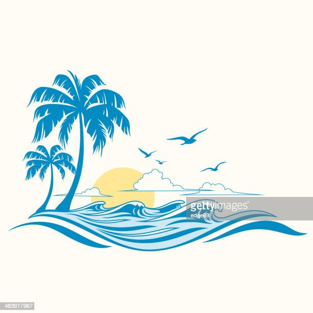 summer background - island stock illustrations