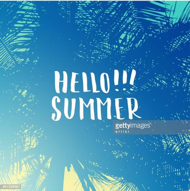 ilustraciones, imágenes clip art, dibujos animados e iconos de stock de fondo de verano - saludar