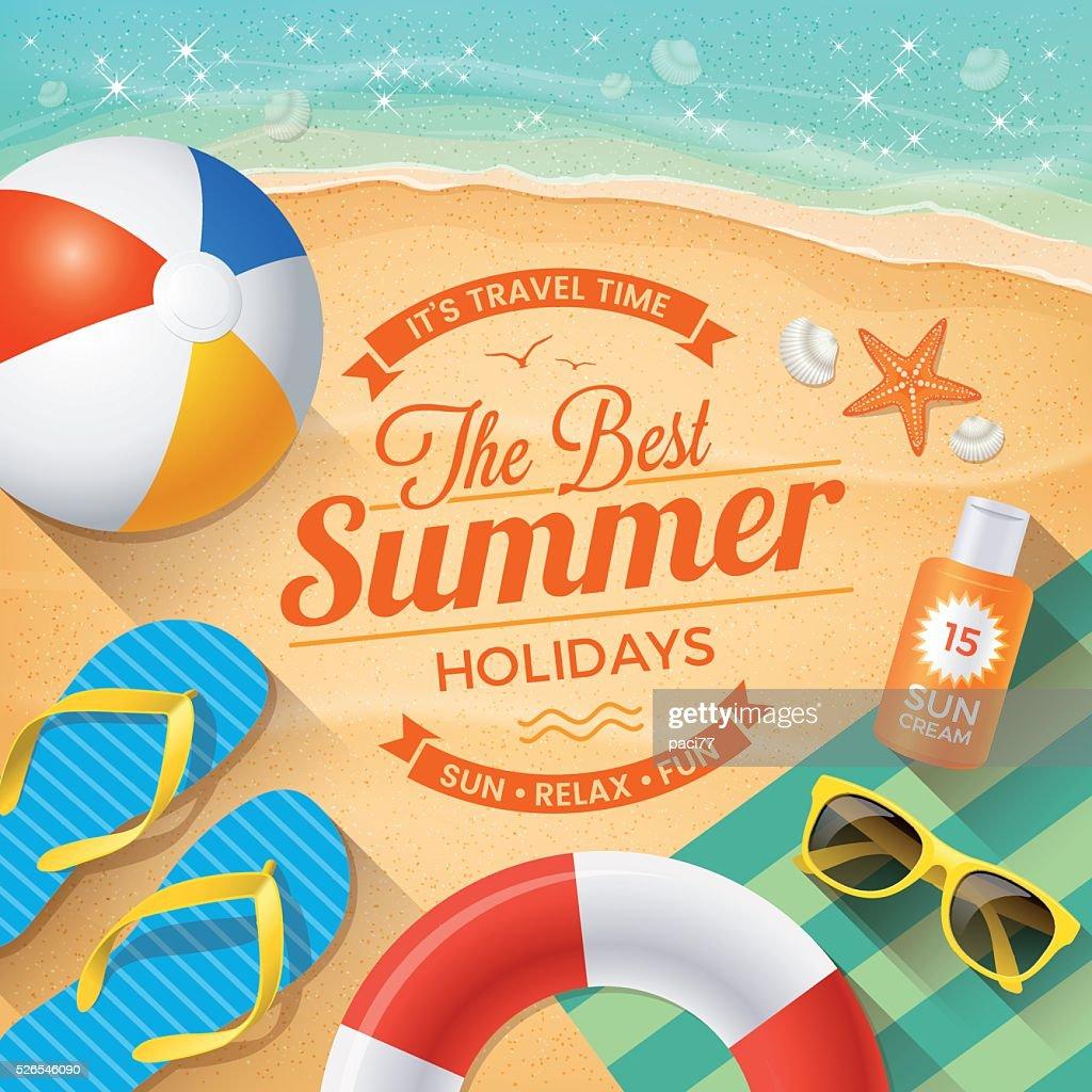 Verão praia de fundo com acessórios de verão : Ilustração