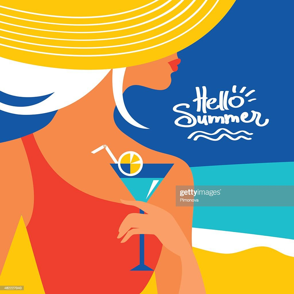 Summer background with beautiful woman silhouette at the seaside