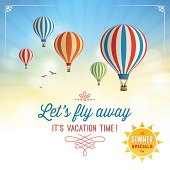 Summer Background with Hot Air Balloons