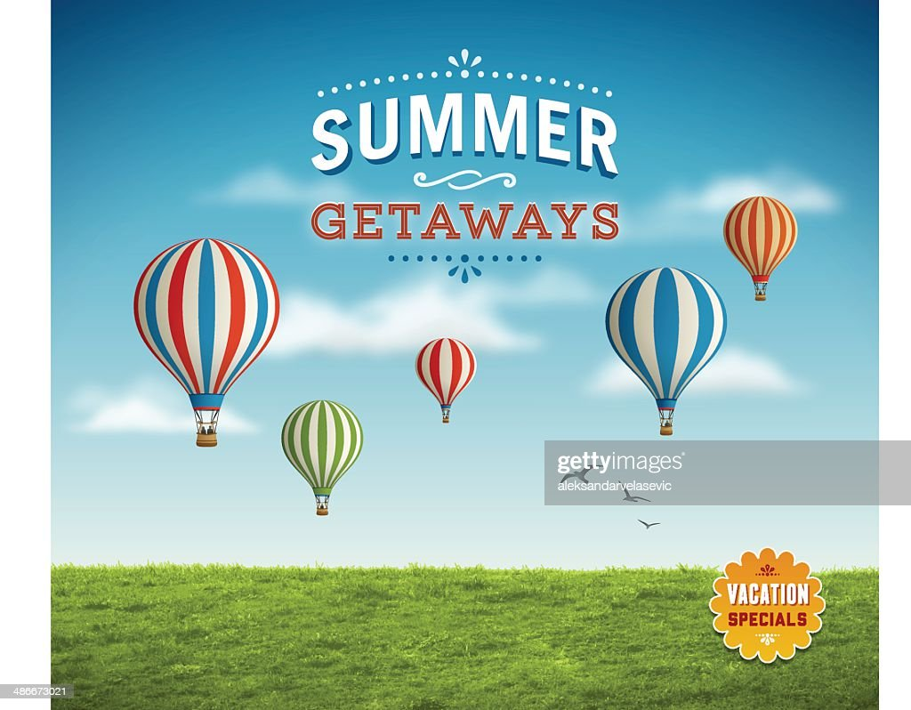 Summer Background with Hot Air Balloons : Stock Illustration