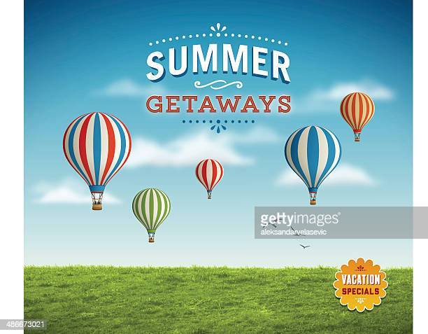 summer background with hot air balloons - balloon ride stock illustrations