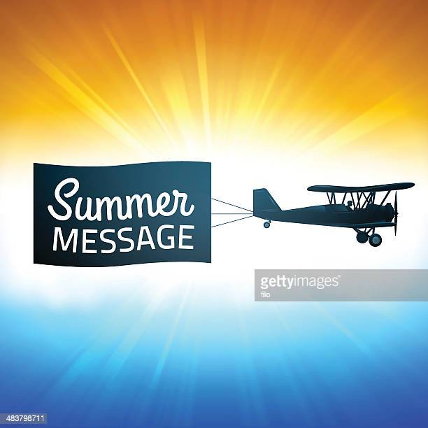 summer background with message - biplane stock illustrations, clip art, cartoons, & icons
