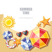summer background with parasol starfish sunglasses sun lifebuoy