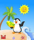 Summer background with penguin