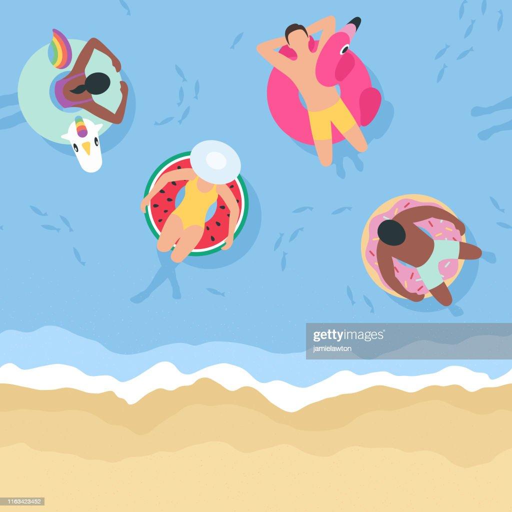 Contexte d'été avec des personnes se détendre sur des gonflables (Seamless horizontalement) : Illustration