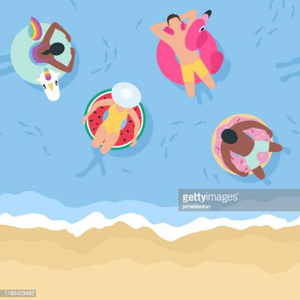 sommerhintergrund mit menschen entspannen auf schlauchbooten (nahtlos horizontal) - schwimmen stock-grafiken, -clipart, -cartoons und -symbole