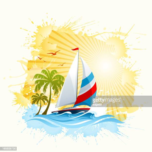 Summer Background with Sailing Boat