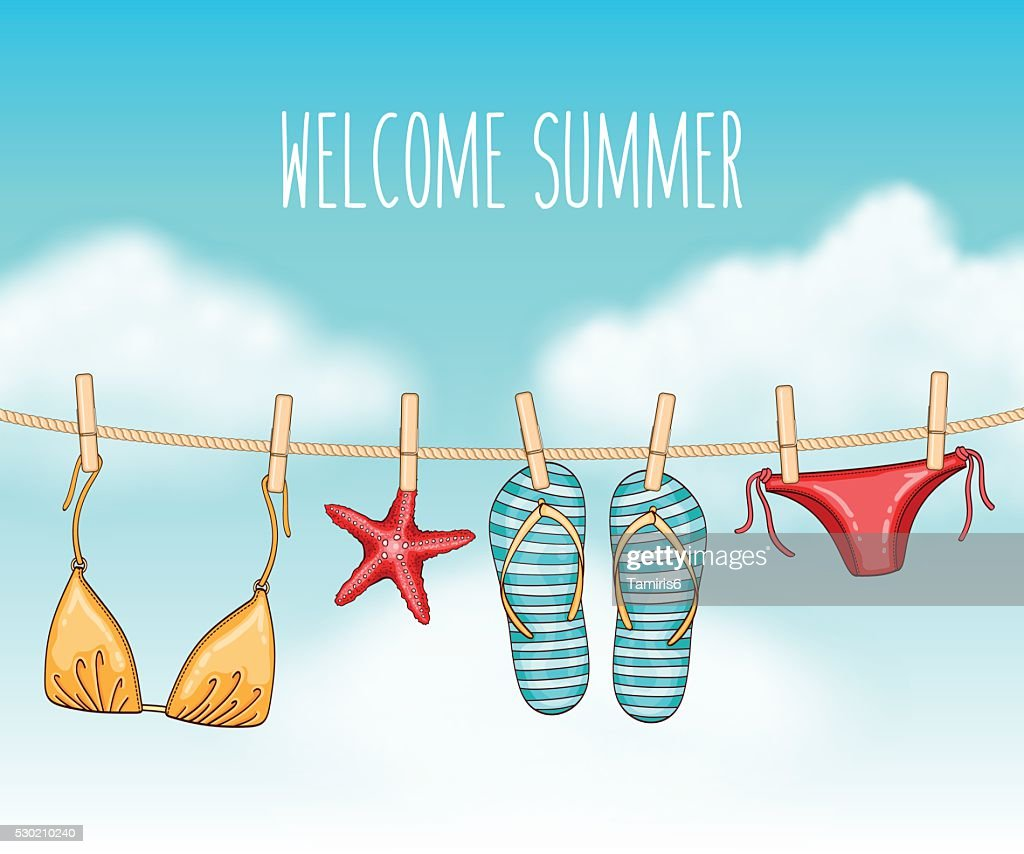 Summer background with swimsuit and flip flops on clothesline