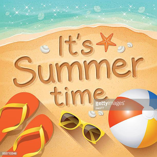 """summer background with text on sand """"it's summer time"""" - sand stock illustrations"""