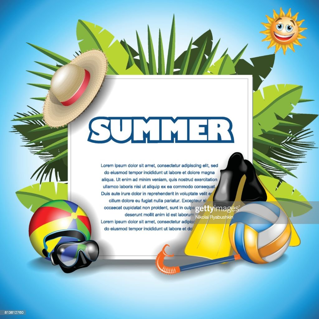 Summer banner background with summer objects 3d ball, hat, flippers, sun, palm vector illustration, tropical beach vocation collection