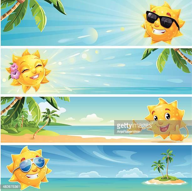 ilustraciones, imágenes clip art, dibujos animados e iconos de stock de banners de verano de sol tropical playa de historieta con gafas de sol de fondo de uso - sol en la cara